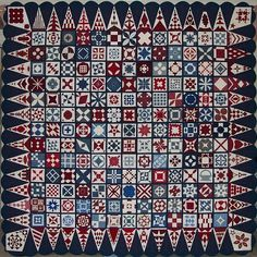 "This patriotic quilt was presented to President and Mrs. Bush for their leadership and guidance following the tragic events of September 11, 2001; it is also known as ""The President's Quilt"" or ""The GWB Quilt""."