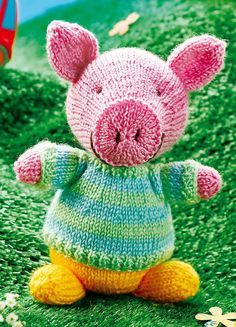 Free Knitting Pattern for George the Pig - This toy softie has a sweater that is knit separately and is removable. No size in description but I'm guessing 6 inches. Designed by Sachiyo Ishii. The file needs to be unzipped after download.
