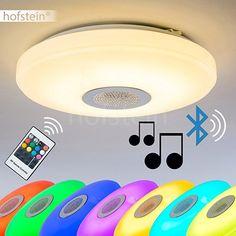 LED Deckenleuchte Hemlo mit Fernbedienung - RGB LEDs Farbwechsler beliebig angesteuert werden - zusätzlich ist ein 3 Watt Bluetooth Lautsprecher verbaut