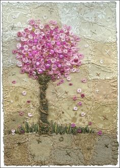 Needlework tree, beautifully done in a wistfully dreamy style.