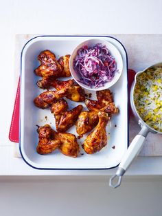 Get /etc/sni-asset/cook/people/person-id/9a/2a/9a2a0be4fddadf36f356adf3a549e38d's Sticky Asian BBQ Chicken Wings with Sweet Corn Rice and Red Cabbage Slaw Recipe from Cooking Channel