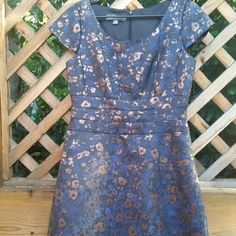 Donna Rico blue and copper dress size 10 Gorgeous navy blue and copper colored  short sleeve dress with waist and bust detailing. Donna Ricco Dresses Midi