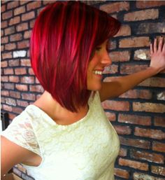 Gorgeous bright red angled bob