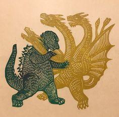 Woodcut of Godzilla vs King Ghidorah Japanese Monster, Godzilla Vs, Classic Monsters, King Kong, Gravure, Japanese Art, Art Inspo, Printmaking, Illustration Art