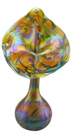 Jack in the Pulpit Bohemian Studio Art Nouveau Style Iridescent Glass Vase