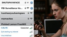 Wifi network names and a girl looking confused