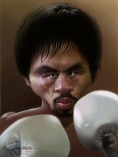 Caricatura del ex-boxeador filipino Manny Pacquiao, realizada por el artista Alexander Novoseltsev....