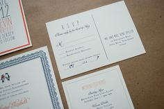 RSVP card by Fourteen-Forty #fourteenforty #modernbarnwedding - Invitation Photos by Fourteen-Forty | Photography by Reena Rose Photography  #modernwedding #barnwedding #navy #persimmon #fourteenforty www.1440nyc.com/margot-kevin-wedding-saddle-river-inn