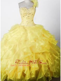 Flower Girl Dresses online shop offers Elegant Beading Ruffles Ball Gown One Shouldder Floor length Little Girl Pageant Dress features one shoulder neckline ball gowns in yellow color,floor length organza dress with lace up back and train for party . Beauty Pageant Dresses, Pagent Dresses, Little Girl Pageant Dresses, Pageant Dresses For Teens, Pageant Wear, Quinceanera Dresses, Girls Dresses, Pageant Gowns, Dama Dresses