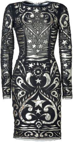 EMILIO PUCCI  Black and Gold Silk Blend Dress