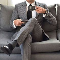 Own your morning // mens fashion // watches // mens suit // coffee // urban men // boys // Dapper Suits, Mens Suits, Dapper Gentleman, Gentleman Style, Sharp Dressed Man, Well Dressed Men, Looks Style, My Style, Mens Tailor