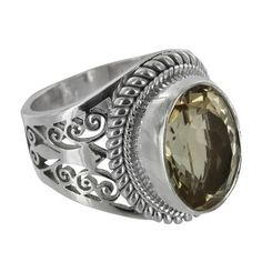 Sterling Silver Citrine Oval Cutout Ring
