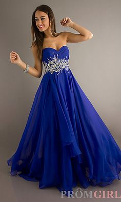 Long Flowing Strapless Sweetheart Gown at PromGirl.com