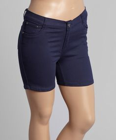 This 1826 Jeans Navy Twill Shorts - Plus by 1826 Jeans is perfect! #zulilyfinds