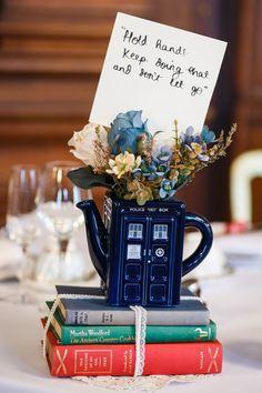 Tea Pot Flowers Tardis Books Centrepiece Vintage Doctor Who Wedding Http Www
