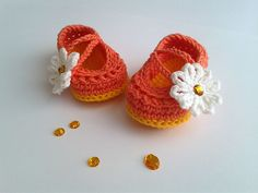 Ravelry: tigris00s Daisy Baby Shoes by Yuliya Tkacheva (msweaver.com), sweet and cute