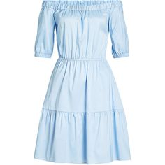 Hugo Dress (14.610 RUB) ❤ liked on Polyvore featuring dresses, blue, off shoulder dress, off the shoulder dress, cotton blend dresses, blue dress and blue off shoulder dress