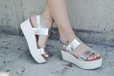 Silver flatforms.