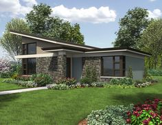 <ul>  <li>This one bedroom Contemporary home plan is an impressive getaway retreat.</li>  <li>Vaulted ceilings soar up making the spaces feel larger.</li>  <li>A wonderful open layout gives you sightlines to all the main rooms.</li>  <li>Although the home is small, it still gives you a walk-in pantry and a handy washer/dryer closet.</li>  </ul>