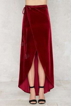 Kathryn Velvet Asymmetric Maxi Skirt - Newly Added | Skirts