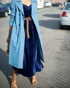 Blue trench coat (at least the color) Denim Trench Coat, Trench Coat Outfit, Trench Coats, Velvet Slip Dress, Velvet Skirt, Fashion 2017, Love Fashion, Textiles, Oversized Coat