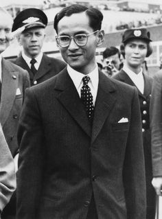 King Bhumibol of Thailand arrives at London Airport at the end of his state visit to England 23rd July 1960 He is travelling to Switzerland to visit...