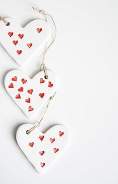 Ceramic white hearts with little red hearts