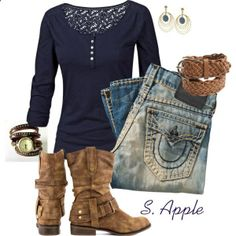 Blue Jeans and Boots by sapple324 on Polyvore