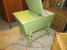 Painted and slightly distressed dough box end table