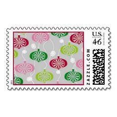 Seasonal Ornaments Postage. Unique, trendy, chic and stylish Christmas holiday season greetings mail postage. With cute and fun image of pink, red, lime and dark green colored bauble decorations. Original, elegant and classy stamps to personalize your December winter season wishes with.