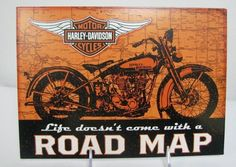 Harley Davidson Road Map Tin Sign
