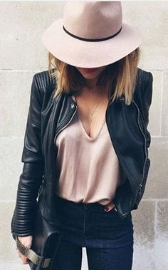 summer outfits  Blush Hat + Black Leather Jacket + Blush Tee + Black Jeans