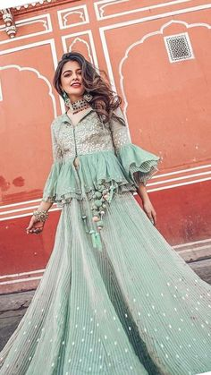 36 indian lehenga choli designs for pre wedding functions 32 Party Wear Indian Dresses, Designer Party Wear Dresses, Indian Fashion Dresses, Indian Bridal Outfits, Indian Gowns Dresses, Dress Indian Style, Indian Designer Outfits, Indian Wedding Gowns, Fashion Outfits