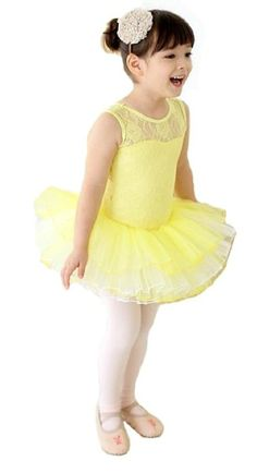 V28® Girls Ballet Tutu Dress Multi Styles (6-7 Years, Yellow Short Sleeve)