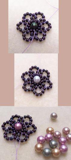 Free DIY tut - bead flower