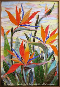 Flower Mosaics by Yulia Hanansen Yulia Hanansen Mosaic Art Mosaic Flowers, Stained Glass Flowers, Stained Glass Art, Mosaic Glass, Mosaic Artwork, Mosaic Wall Art, Mosaic Mirrors, Mosaic Crafts, Mosaic Projects