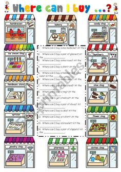 The ss read questions about shops and have to write the answer. English Grammar Worksheets, Learn English Grammar, Vocabulary Worksheets, English Study, English Lessons, English Vocabulary, Learning English For Kids, Teaching English, Animals Name In English