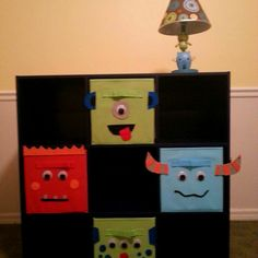 bins - monster theme in the nursery Monster Bedroom, Monster Nursery, Nursery Themes, Nursery Room, Themed Nursery, Nursery Ideas, Nursery Decor, Room Ideas, Baby Boy Rooms