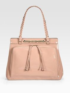 Valentino Demetra Patent Leather Top Handle Bag