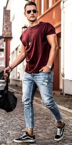 look masculino com calça barra cortada e tenis vans