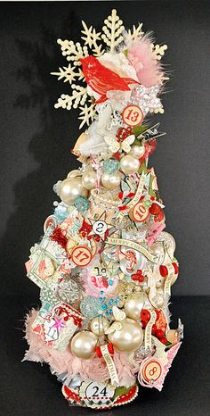 Advent Tree by Emma Trout using Webster's Pages Botanical Christmas and Winter Fairy Tales! A great advent tree! Primitive Christmas, Shabby Chic Christmas, Noel Christmas, Merry Little Christmas, Pink Christmas, All Things Christmas, Vintage Christmas, Christmas Images, Country Christmas