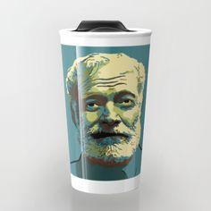Teal travel mug with portrait of Ernest Hemingway.