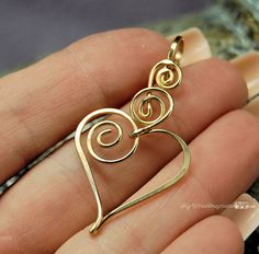 Charming Heart Wire Wrapped Pendant with Interchangle Type Bail in 14K GF Wire…