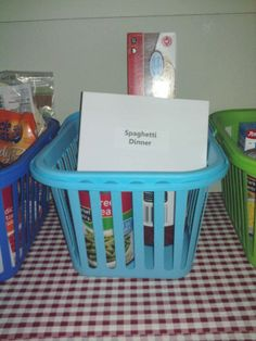 Organizing your Pantry with Pantry Meals in baskets and all the ingredients ready to go.