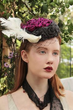 Dove Takes Flight Fascinator Hot pink with black polkadots surrounded by  grey organza flowers a8898fcb8105