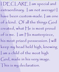 I DECLARE I am special and extraordinary. Day #12 I DECLARE: 31 Promises to Speak Over Your Life by Joel Osteen
