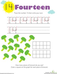 Kindergarten Writing Numbers Counting & Numbers Worksheets: Tracing Numbers & Counting: 14