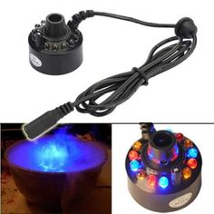 Enshey 12 Color LED Ultrasonic Mist Maker Fogger Atomizer Air Humidifer Water Fountain Pond+Power Adapter Indoor/Outdoor Garden Office Home Room Car E Book Reader, Arduino, Led, 3d Printer Supplies, Electronics Gadgets, Diy Kits, Water Features, Mists, Skin Care