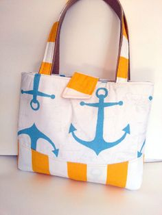 NauticalTote- Blue White Yellow Anchor Yellow Stripe Duck Cotton-Medium-Gift for Her-Wedding Gift-Bridal Party Gift Pack Your Bags, My Bags, Lanyard Wallet, Beach Bag Essentials, Toddler Busy Bags, Blue Cherry, Tote Handbags, Tote Bags, Tropical Christmas