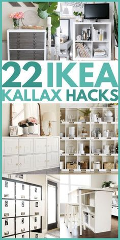 22 of the Best IKEA Kallax hacks for your bedroom, kitchen, and entryway. These mid century KALLAX hacks are great for your TV stands, bench top, desk, and office table. #ikeakallax #kallaxhacks #ikeahacks Ikea Kallax Hack, Diy Kallax, Ikea Kallax Bookshelf, Ikea Malm, Ikea Furniture Makeover, Ikea Furniture Hacks, Office Furniture, Furniture Storage, Furniture Ideas
